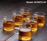 80ml二重壁の茶カップ・アンド・ソーサーのコーヒーカップのガラスティーセットのコップ