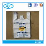 Sac à provisions en plastique personnalisé par PE bon marché de T-shirt de HDPE