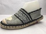 亜麻の足底(23LG1711)が付いているEsparto Shoes PU Shoes女性キャンバスの余暇の靴