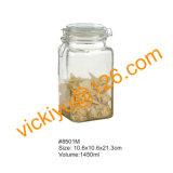 [850مل] مربّعة طعام تخزين زجاجيّة [غلسّ بوتّل] مع غطاء زجاجيّة