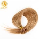 100繊維ブロンドUの先端の毛の拡張1g/Strand漆黒ライトか焦茶は人間の毛髪の拡張ExtensionesをUひっくり返す
