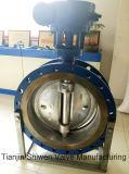Dreifaches Exzentermetallsitzflansch-Drosselventil mit Getriebe-Stellzylinder
