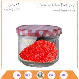 Vaso di vetro del caviale di vendita calda con la protezione del metallo, il marchio e la stampa del contrassegno disponibile