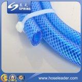 Boyau de jardin tressé de l'eau bleue de PVC de fibre en plastique de boyau