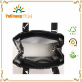 Cremallera de vinilo de PVC de compras bolsa de asas brillante de vinilo de PVC Negro Bolsas