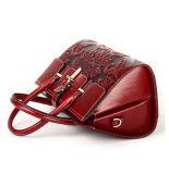 2017 fiori di disegno di modo hanno impresso le borse di cuoio rosse per le donne