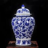 Vaas van Lotus van het Porselein van Jingdezhen de Antieke Blauwe en Witte