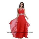 袖なしの背部が開いたイブニング・ドレスのプロムの服W004に玉を付けている女性