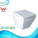 Toletta bianca di ceramica della stanza da bagno del quadrato di caduta della parete