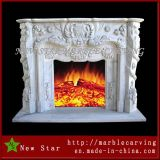 Lareira de mármore redondo de interiores, fogueira a gás, mármore decorativo de lareira