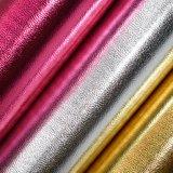 Metálico como o couro artificial do PVC, couro de sapata animal da grão