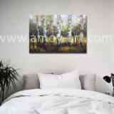 Tree Landscape Knife oil Paintings Heavy oil and the text Urals Effect