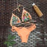 Französischer Dreieck-Zeichenkette-Bikini-edler reizvoller Frauen-Stickerei-Badeanzug