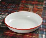 La vaisselle en émail de couleur bleue de l'émail Rim profonde de l'émail de la plaque de la plaque de Camping