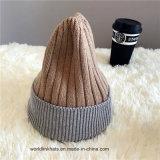 Réversibles 2ton chapeau d'hiver populaire de l'acrylique blanc Chapeau tricoté