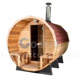 Sitio al aire libre de la sauna del barril de la casa de la sauna con el calentador eléctrico/la estufa ardiente de madera
