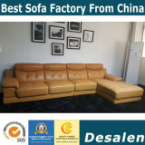 La moderna forma de L Hogar muebles de cuero auténtico sofá (B. 938)