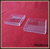 Plaza de la transparente cristal de cuarzo para fundir la placa de Petri