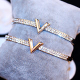 De Armband van het Staal van het Titanium van de Link van de Manier van de Juwelen van de Diamant van de Meisjes van de douane