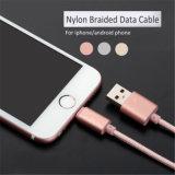 cabo de nylon principal de alumínio do USB do carregador da pele 2.1A de 1m para o iPhone