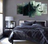 Impresión de HD 5 pedazos de la lona de la pared del arte de la impresión del lobo de pintura de la lona de la decoración del arte casero moderno de la pared para la pintura de la decoración de la sala de estar