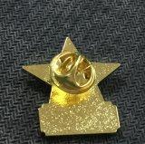 3D estilo estrella de oro reluciente insignia de solapa con el propio logotipo