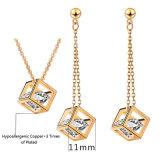 Joyería de cobre amarillo de la manera para la joyería coreana del estilo de la mujer con el pendiente y la joyería determinada del collar (552955346750) del AAA CZ