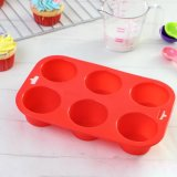 Прессформа выпечки силикона 6 круглых полостей Non-Stick для чашки испечет миниые торты