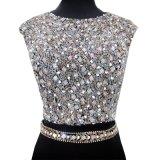 O vestido de noite conservado em estoque real da sereia do vestido preto de cristal do baile de finalistas do partido veste E81219