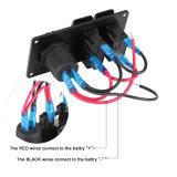 2 grupos Dual painel marinho do interruptor de balancim do carro portuário do USB para o barco rv do carro