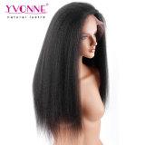 イボンヌ180%の密度の黒人女性のブラジルのバージンの毛の自然なカラーのためのねじれたまっすぐなレースの前部人間の毛髪のかつらは出荷を解放する