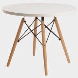 Mesa de Café Branco Brilhante Pernas de madeira natural do tampo da mesa Sala Escura