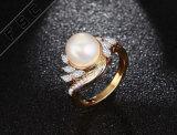 Diseño simple moda Zircon Diamond Engagement Boda Anillos de Perlas