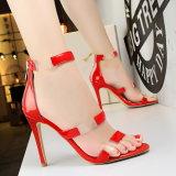 Размер 34-39 цветов сандалий 8 полости пальца ноги материала PU сандалии высокой пятки женщин открытый