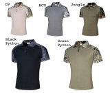 Uniforme militar ao ar livre Airsoft de Camo de 6 cores que caça o t-shirt tático