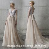 Robe de mariage formelle nuptiale sans manche de lacet de V-Collet de robes Lb1927