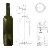 750ml熱い販売のボルドーの旧式な緑のワイングラスのびん