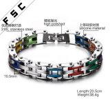 Fiets van het Titanium van het Silicone van de manier bedekt de Veelkleurige de Armband van de Link van de Ketting voor Mensen