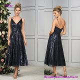 Flowy A - Zeile Fußleisten-Abend-Kleid mit Tee-Länge im Sequin-Gewebe
