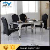 Meubles de salle à manger ensemble à dîner Table à manger en verre de table en acier inoxydable