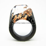 Hanmade kundenspezifischer Blackwood-Ring, Harz-Rosen-Goldvereitelter Ring