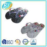 印刷された足底および花の装飾が付いている女性双安定回路のサンダルのスリッパ