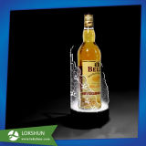 Prateleira Shaped redonda do licor do diodo emissor de luz e indicador acrílico do frasco