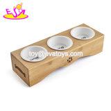 Novo Alimentador Pet água mais quente de madeira Alimentar Gatos taças com recipientes de cerâmica W06f062