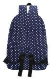 Azul escuro Coreano Mochila Saco de ombro com duplo de lona para alunos do Colégio Mulheres Polka DOT Mochila Saco de menina de Lazer