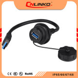 Conector hembra del macho USB conector cableado Panel Impermeable IP67