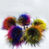 毛深い毛皮の球のKeychainの帽子のための擬似アライグマの毛皮POM POMの毛皮の球