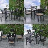 El vector de cena fija el asiento cuadrado de la tela de las sillas laterales del vector de cena de los muebles del jardín