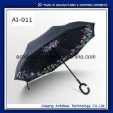 두 배 폴딩 휴대용 핸즈프리 똑바른 반전 거꾸로 한 선전용 차 우산