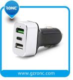 Venta caliente QC3.0 todos los colores y Tipo C USB Cargador de coche para teléfono móvil